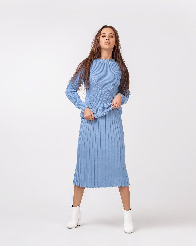 "Юбка плиссе+ свитер в ""Голубом"" цвете"