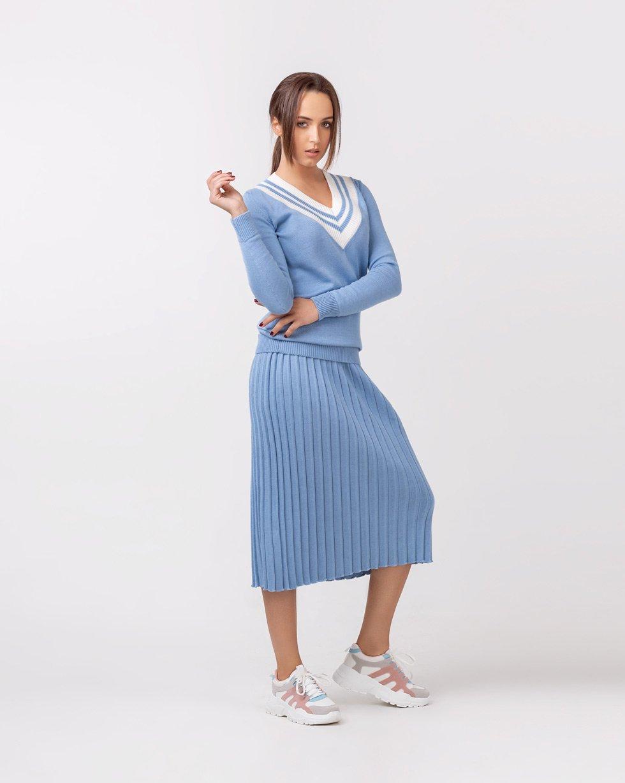 "Юбка плиссе+ свитер ""Colorblock"" в ""Голубом"" цвете"