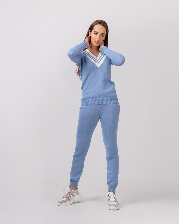 Хлопковый костюм брюки и свитер Colorblock Голубого цвета