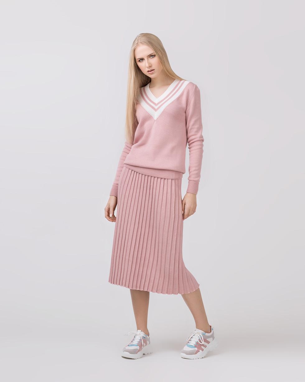 Комплект юбка-плиссе и свитер Colorblock в цвете Пудра