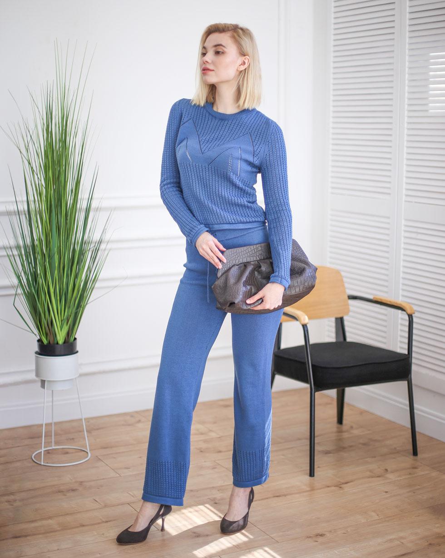 Летний хлопковый комплект брюки и кофта с ажуром Темно - Синего цвета