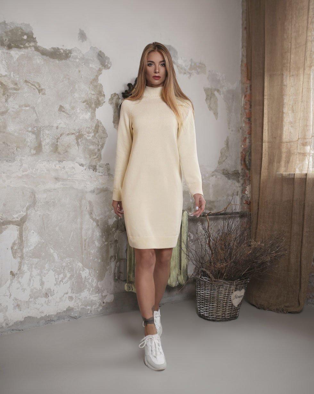 Платье-свитер LikeOn из мериносовой шерсти в Молочном цвете
