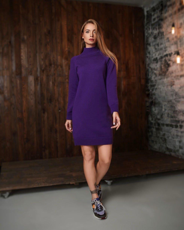 Платье-свитер LikeOn из мериносовой шерсти в Фиолетовом цвете
