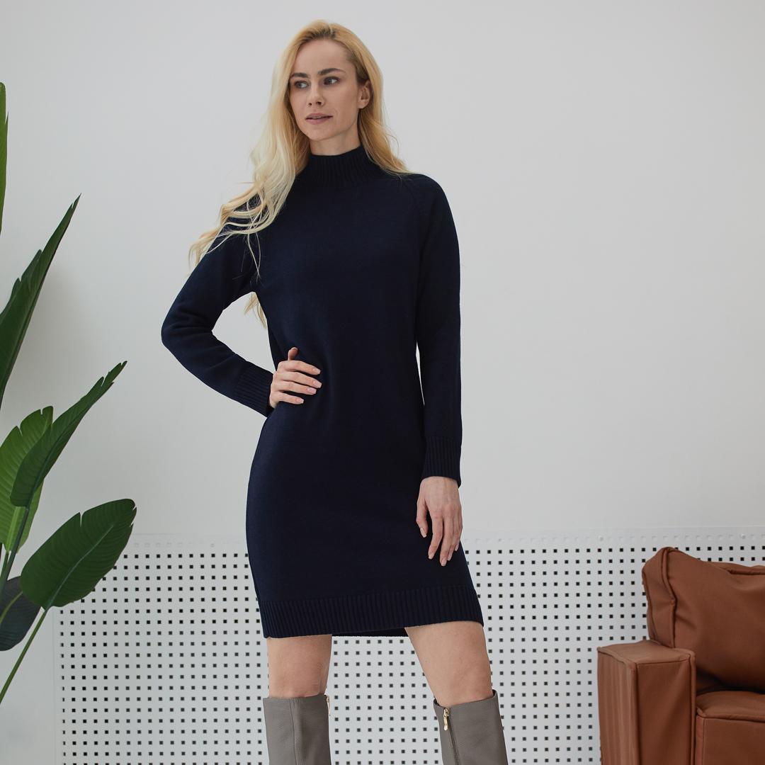 Платье-свитер из мериносовой шерсти Тёмно- синего цвета LikeOn