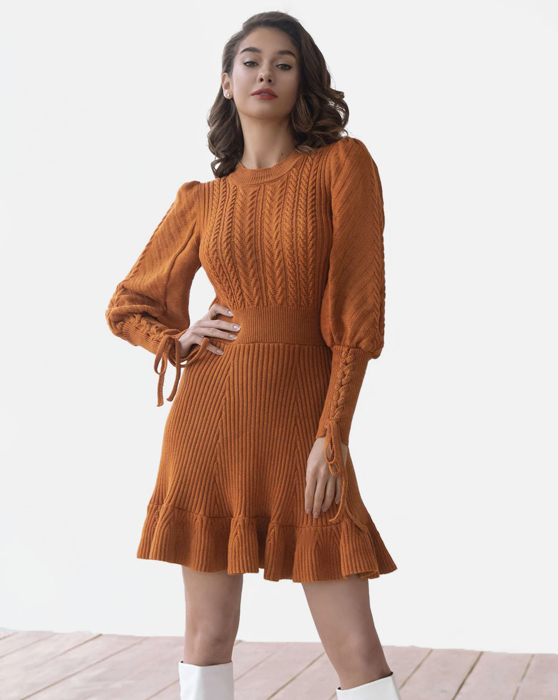 Платье LikeOn терракотового цвета