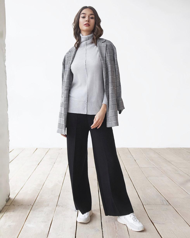 Прямые брюки из мериносовой шерсти черного цвета