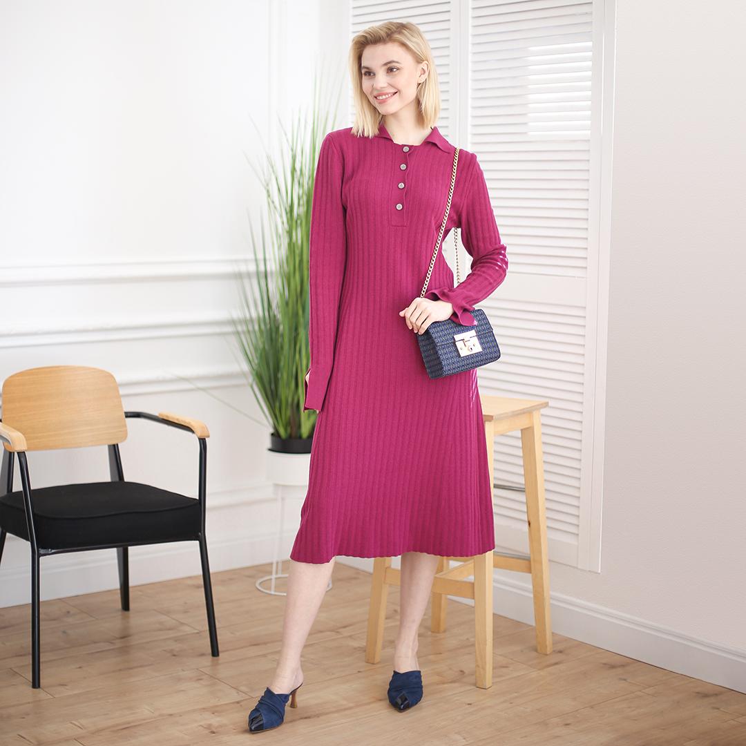 Демисезонное платье поло из шерсти мериноса Ягодного цвета