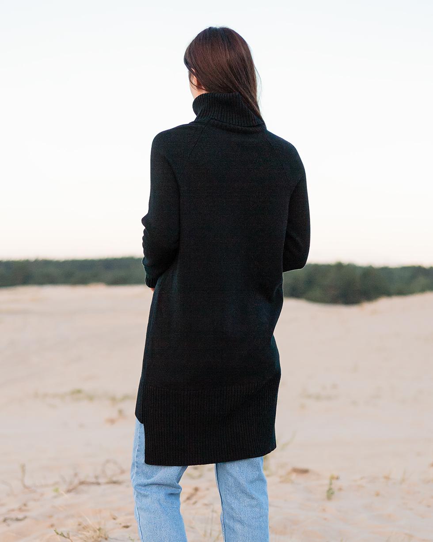 Кашемировый удлиненный свитер оверсайз черного цвета с двойным отворотом