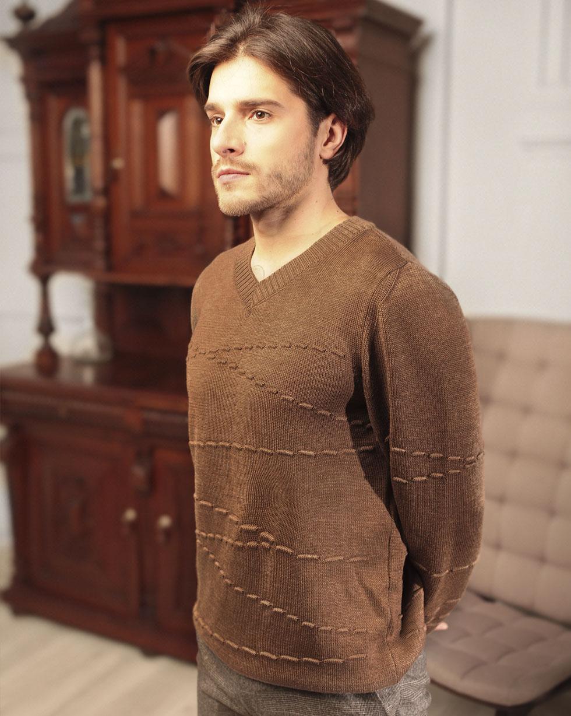 Демисезонный свитер из мериносовой шерсти Коричневого цвета с декором