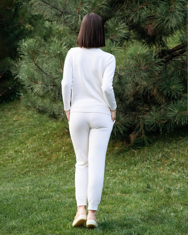 Прогулочный костюм из шерсти мериноса Белого цвета