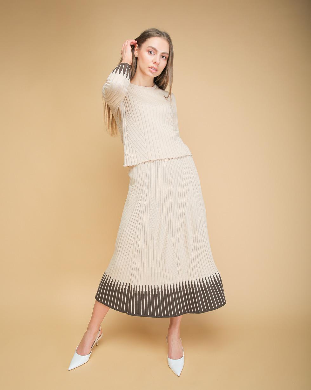 Летний комплект Беж юбка и футболка с вставками Кофейного цвета