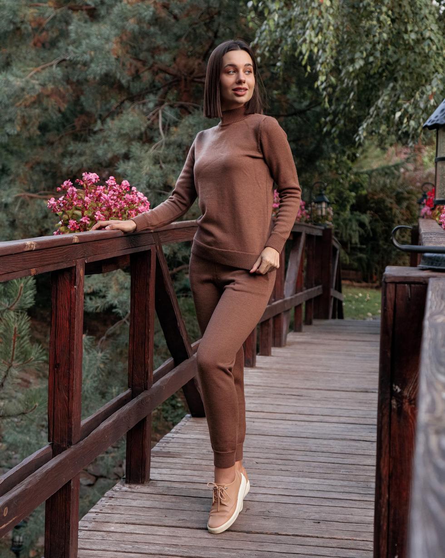 Зимний костюм из шерсти мериноса Коричневого цвета