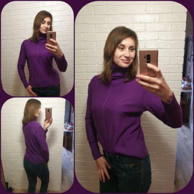 Фото отзыв LikeOn гольф фиолетового цвета из 100% итальянской мериносовой шерсти