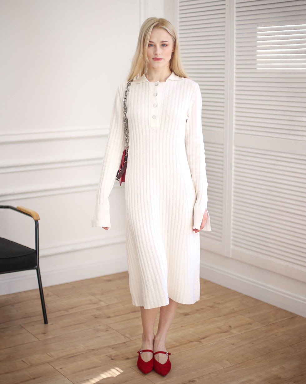 Демисезонное платье поло из шерсти мериноса Белого цвета