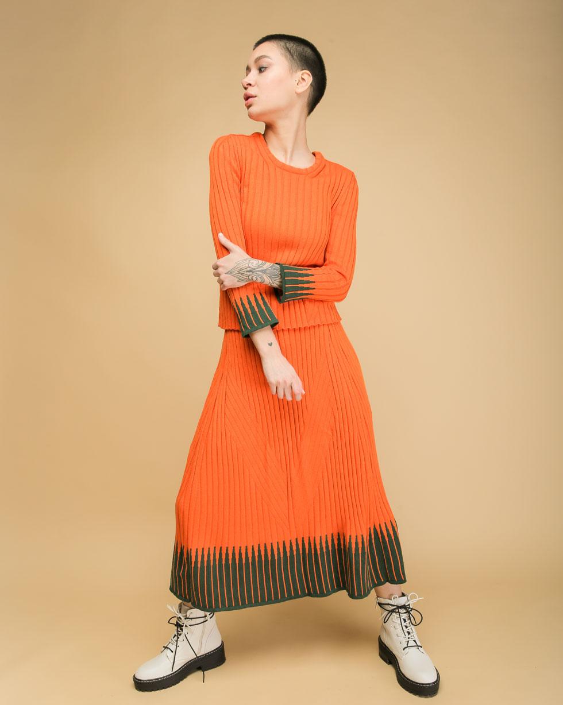 Летний комплект Оранжевый юбка и футболка с вставками Темно- Зеленого цвета