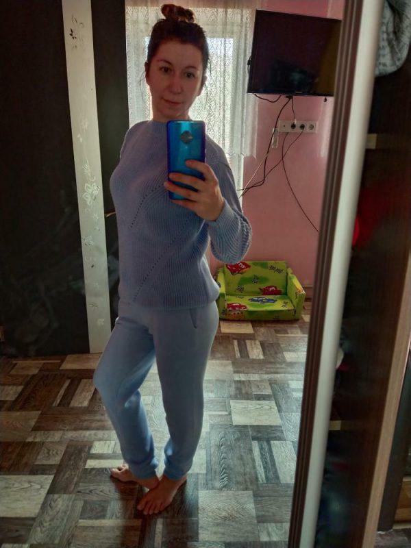 Фото отзыв покупателей LikeOn брюки и свитер из хлопковой пряжи голубого цвета