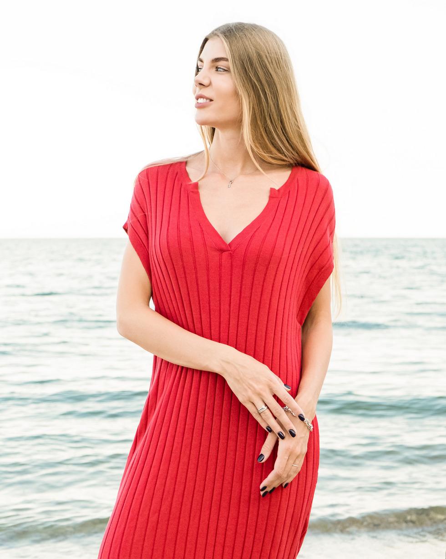 Летнее платье - накидка с V образным вырезом Алого цвета от LikeOn