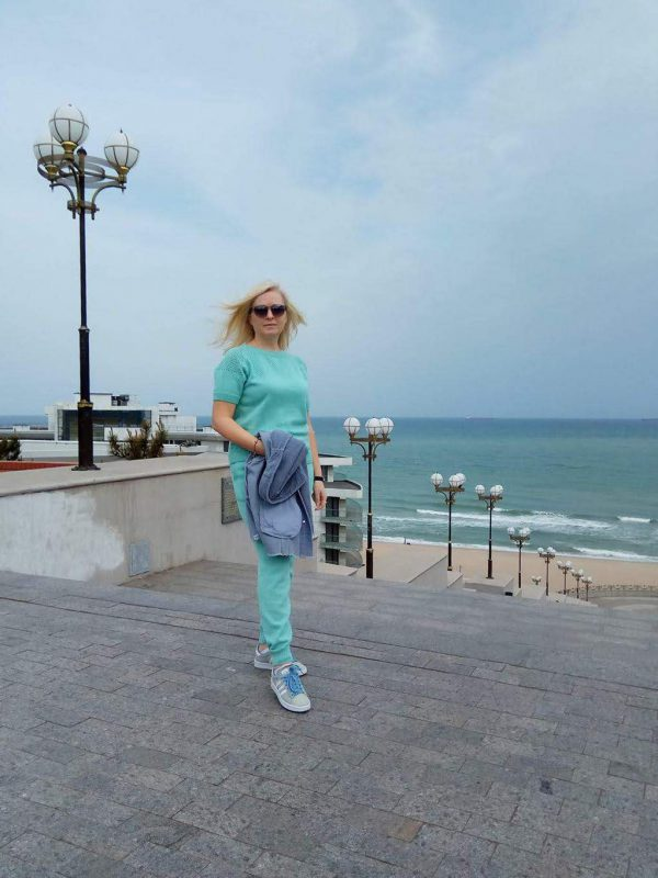 Фото отзыв для магазина LikeOn комплект из итальянской хлопковой пряжи мятного цвета