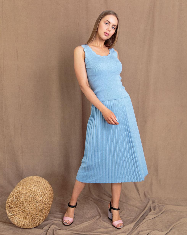 Комплект юбка плиссе и майка с ажуром Голубого цвета