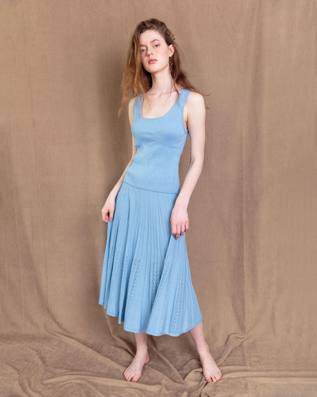 Комплект юбка-солнце ажурная и майкав Голубого цвета