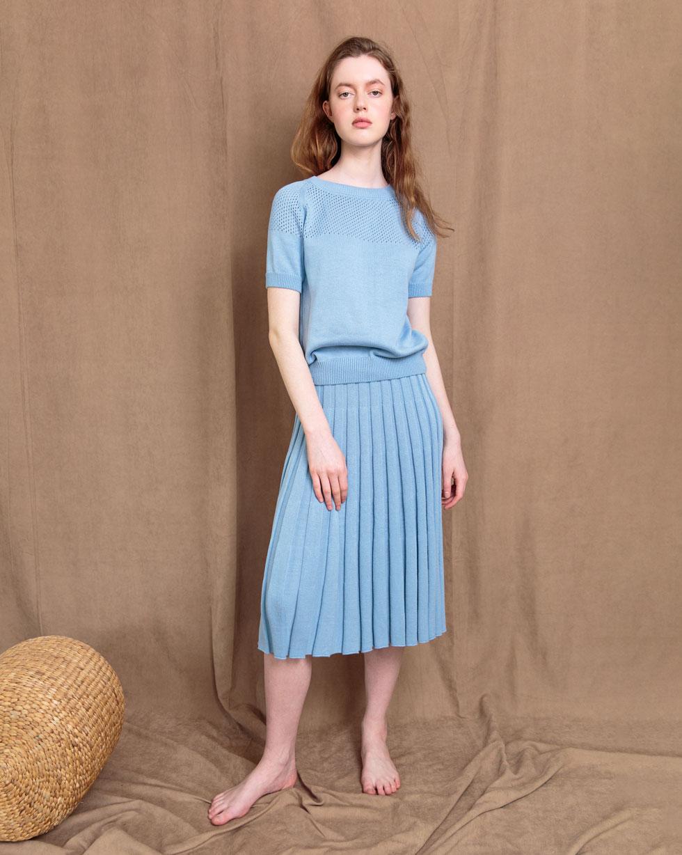 Комплект юбка солнце гофре и футболка в Голубого цвета