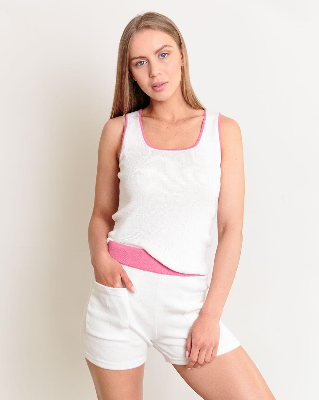 Шорты с карманами и Майка Белого цвета с вставками в цвете Фуксия из хлопка LikeOn