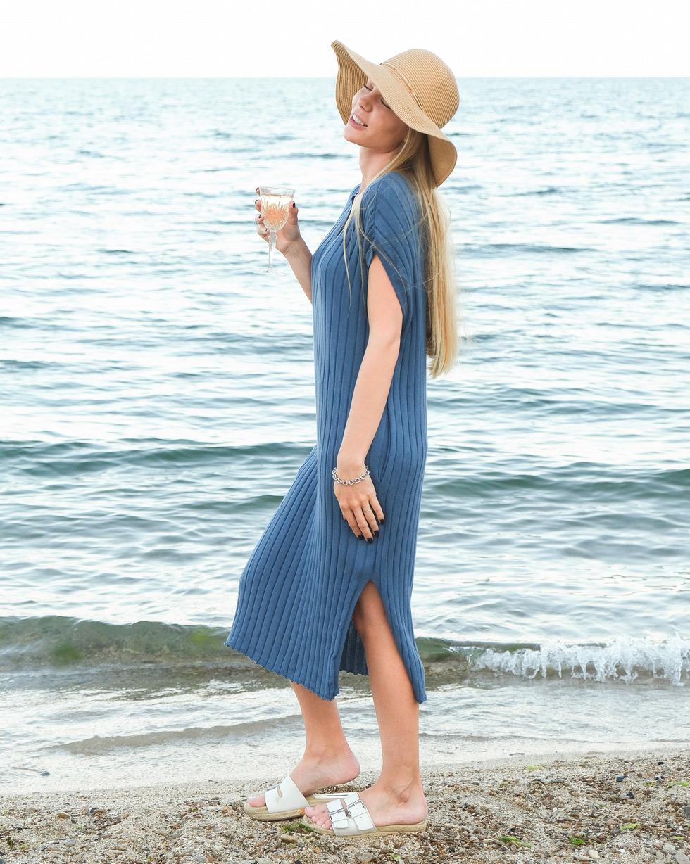 Летнее платье - накидка с V образным вырезом Морского цвета LikeOn