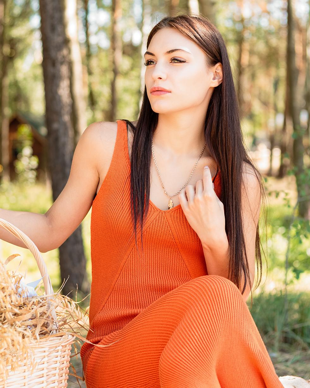 Летний хлопковый сарафан Оранжевого цвета