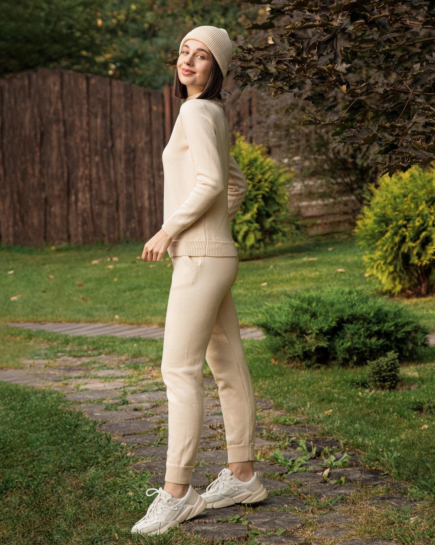 Прогулочный костюм из шерсти мериноса в цвете Молоко