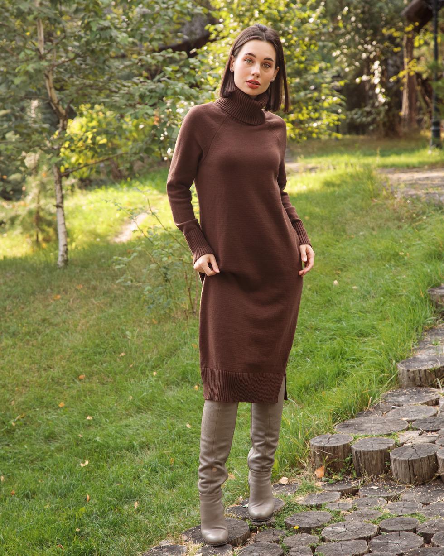 Кашемировое платье Шоколадного цвета с двойным отворотом