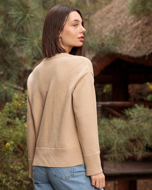Кашемировый свитер оверсайз Бежевого цвета с круглой горловиной