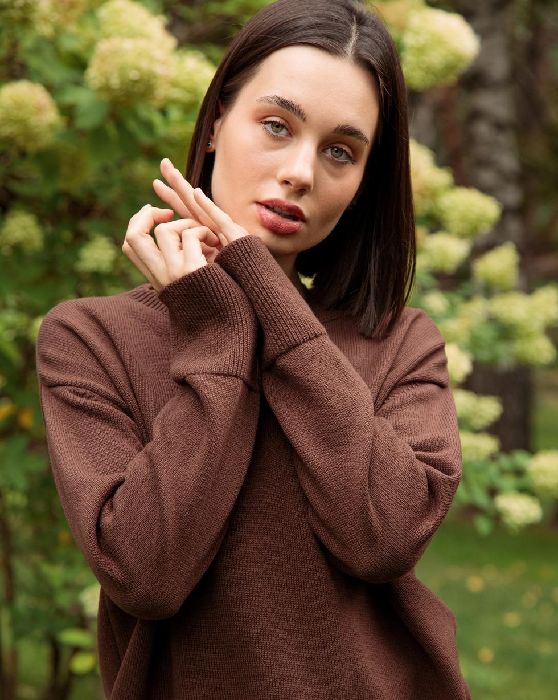 Кашемировый свитер оверсайз Шоколадного цвета с круглой горловиной
