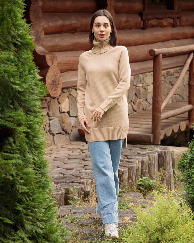 Кашемировый удлиненный свитер оверсайз Бежевого цвета с двойным отворотом