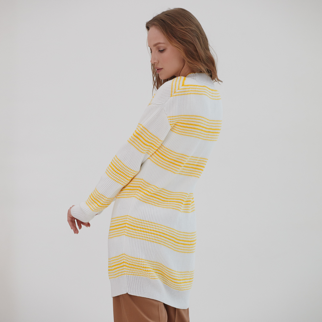 Кардиган в полоску из итальянского хлопка Белого цвета с Жёлтыми вставками