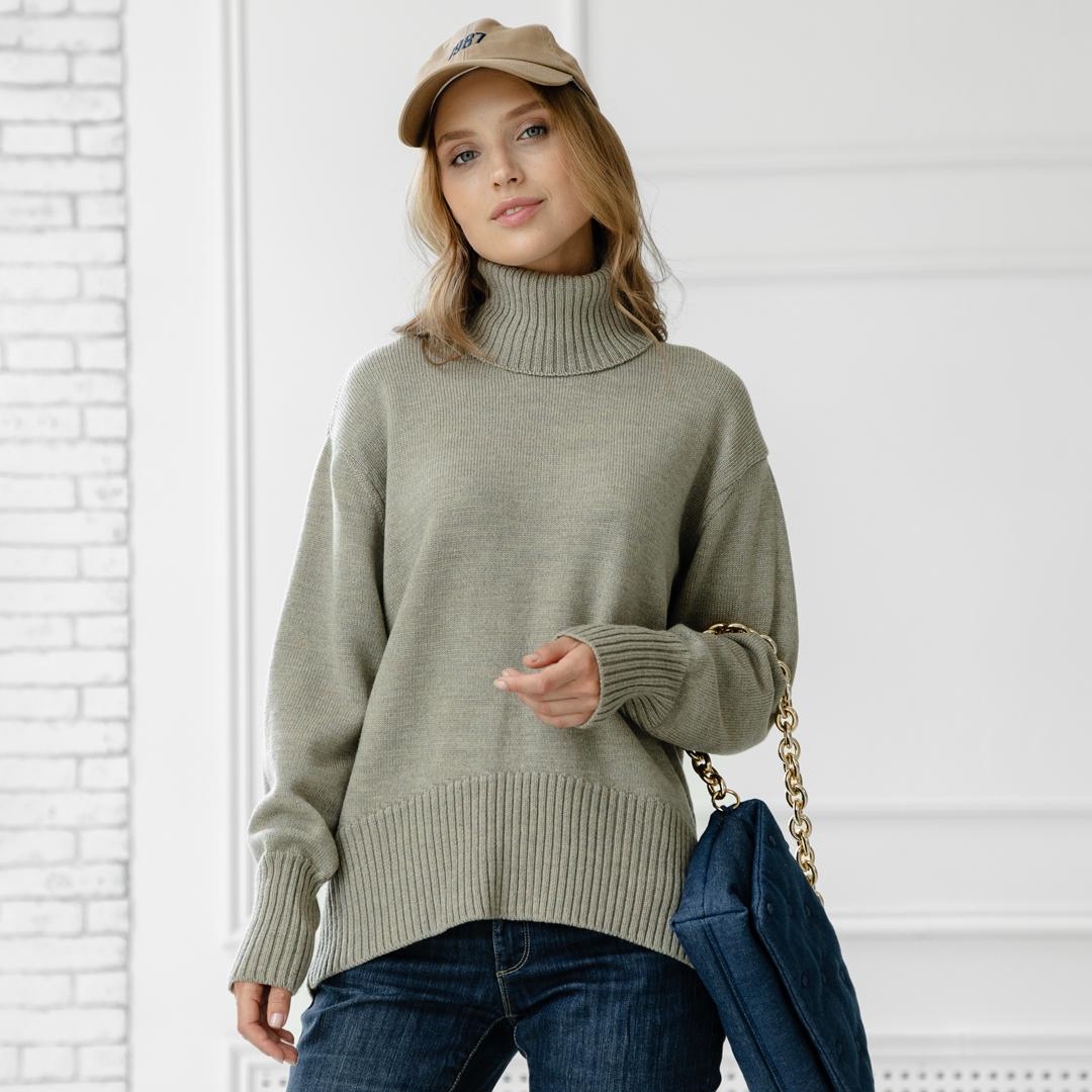 Скругленный свитер свободной посадки Oversize из мериноса в цвете Тауп- Меланж от LikeOn